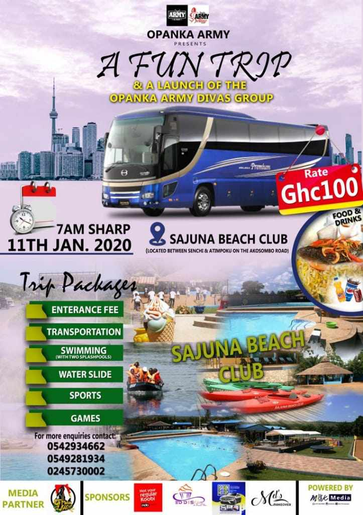 Opanka Army Divas Fun Trip To Sajuna Beach Club On The 11th Jan.